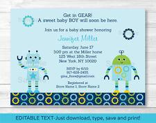 Baby Bots Boy Robot Printable Baby Shower Invitation Editable PDF
