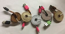 LOT of 5 Micro USB Cord LOT - Cool Patterns! - New & Unused!