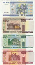 BELARUS 50/100/500/1000 RUBLE -- 1 Pcs EACH , TOTAL 4 NOTE --- UNC CONDITION