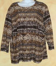 Laura Ashley -Sz 2X -Lacy Brown Off White Print 3/4 Sleeve Knit Travel Top