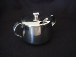 Alessi Ufficio Tecnico 18/10 Stainless Steel Lidded Sugar Bowl & Alessi Spoon