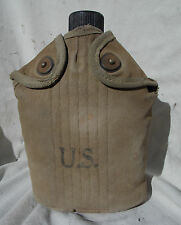 WW 2 US Army USMC Soldiers 1945 Aluminum Canteen With Nice  Khaki Case