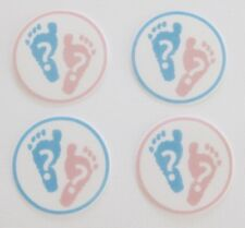 12 PRE CUT EDIBLE RICE PAPER CARD GENDER REVEAL BABY FEET CUPCAKE PARTY TOPPERS