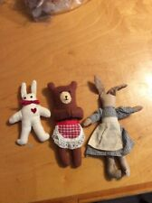 "1980""S Lot Of Three Folk Art Vintage Bear & Rabbit B1"