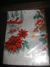 """VTG Kitchenettes 60's Style Plastic Christmas Tablecloth Table Cover 52""""x52"""" New"""