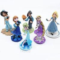 1 Set of 6 Disney Princess Family Colections Figures Dolls Toy Ornament 9-10cm