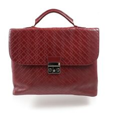 NWT $1495 CANALI Dark Red Leather Briefcase with Printed Design
