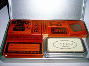 CAVALLINI & CO-VINTAGE OFFICE RUBBER STAMP SET+BLACK INK PAD-8 STAMPS+METAL BOX