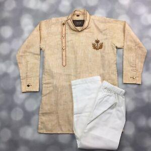 Ethnic Wear Kurta Top & Pants Pajama Set Boys Size 2 Tan Gold Embroidered Patch