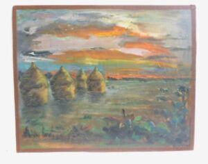 Tableau Huile sur Panneau Paysage Coucher de Soleil - Signé Moreau