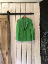 Vtg 70s Bright Lime Green Tailored Blazer with Gold Buttons Oscar de la Renta M