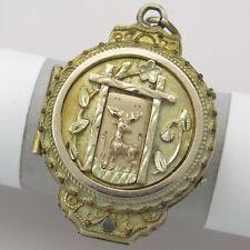 Antique Victorian Tri Gold Filled GF Stag Deer Etruscan Revival Pendant Locket