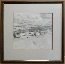 Wensleydale from Nappa Scar Drawing by listed Yorkshire artist Piers Browne 1992