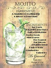 Mojito cocktail Recipe, Retro metal Plaque, Pub Bar Kitchen Shabby Chic Gift
