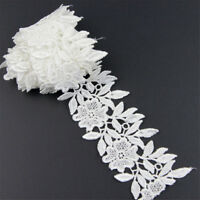1 Yard White Lace Trim Ribbon For Bridal Dress Embroidered DIY Sewing Craft