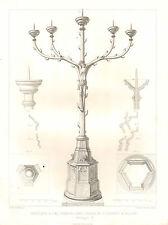 Impression architectural français 1851 ~ Eglise St Cunibert candelabre cinq branches