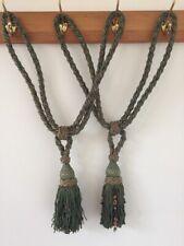 Two Antique Braid Rope French Silk Drape Curtain Passementerie Tassel Tiebacks