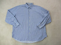 Peter Millar Button Up Shirt Adult Extra Large Blue White Striped Casual Mens