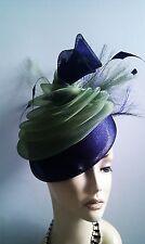 ladies black/lime olive greem/purple fascinator hat /weddings/ ascot /races