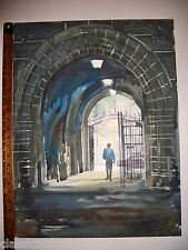 Robert E Kennedy Original Yale University Gate Watercolor 1990
