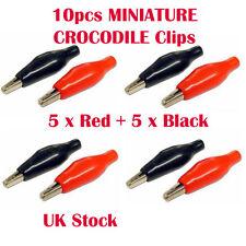 10pcs Rosso & Nero miniatura 35mm PVC COIBENTATE BATTERIA COCCODRILLO TEST LEAD CLIP