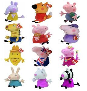 TY Beanie Peppa Pig 6'' Plush Toys - George Suzy Emily Zoe Gerald Freddy Grandpa