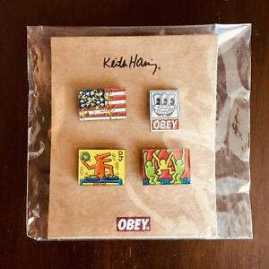 NEW Obey Giant x Keith Haring Foundation 2012 Enamel Metal Pin Set Street Art
