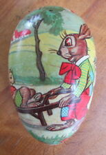 """Vintage paper mache 6"""" Easter Egg candy container W. Germany rabbits"""