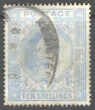 GREAT BRITAIN, GB, KEVII, TEN SHILLINGS ULTRAMARINE  SG265, GOOD USED