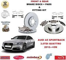 Para Audi A5 Sportback 3.0 TDI 2012 - > en la parte delantera + Kit de Montaje Pastillas De Discos De Freno Trasero