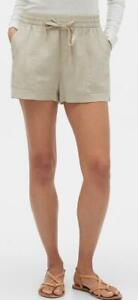 NWT Womens GAP Utility Pull-On Drawstring Linen Shorts Mid Rise Easy Fit $34 *7C