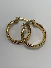 9ct 9k Yellow Gold Spiral Twist Round Hoop Earrings 19mm 2.0 Grams. Brand New