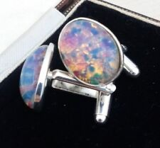 Vintage - 1950s CZECH Milky Pink Fire Glass Opal - Oval Silver Plated Cufflinks