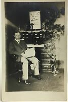 RPPC  Real Photo Postcard ~ Man Sits At Desk With Welcome To Our Boss Sign