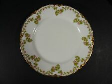 "Vtg Set of 4 Haviland Limoges Gold Rim Green Vine Red Flowers 6"" Bread Plates"