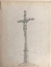 LUIS EDUARDO DE LA ROCHA (1888-1942) Dessin Ancien Calvaire Crucifix Christ #10