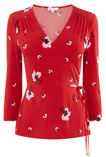 New Warehouse Red White Black Floral Flattering Wrap Party Evening Casual Top