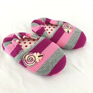 Toddler Girls Knit Slippers Rubber Sole Anti-Slip Striped Pink Purple Candy 6-7