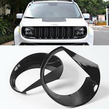 2pcs Headlight Bezels Cover Trim Kit Moulding For 2015-2018 Jeep Renegade #ya