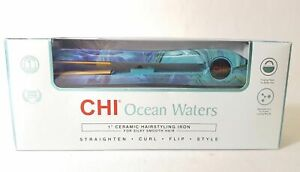 """CHI OCEAN WATERS 1"""" Ceramic Hairstyling Iron for Silky Smooth Hair NEW!"""
