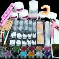 Full Acrylic Powder Nail Art Tool Starter Kit-Set Nail Tips Brush File Form DIY.