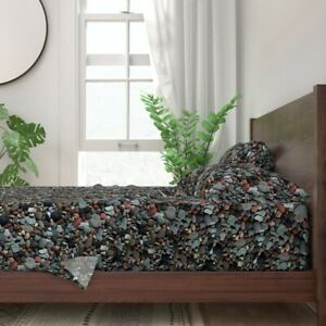 Stone Stones Beach Shore Pattern Rock 100% Cotton Sateen Sheet Set by Roostery