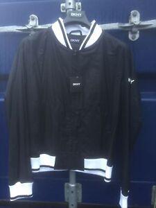 New Men's Size XL DKNY Black Rubber Bomber Jacket