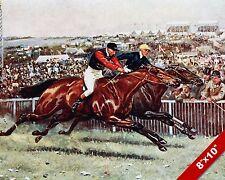 NECK & NECK PHOTO FINISH HORSE JOCKEY RACE RACING ART PAINTING REAL CANVAS PRINT