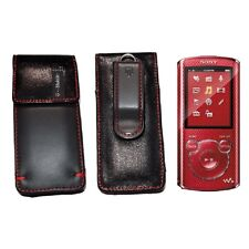 NEW! Sony Walkman Mp3 Player NWZ-E380 Series Leather Red Swivel Belt Pouch Case