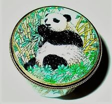 Staffordshire English Enamel Box - Chinese Giant Panda & Bamboo Trees - Mib