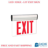Red LED Edge Lit Exit Emergency - Rotating Fire Safety Egress Sign