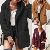 Mode Femme Hiver Confor Manteau Chaud Manche Longue Poches Loose Veste Plus