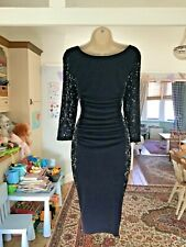 VGC Size 12 PHASE EIGHT Navy & Lace Ruched Pencil Wiggle Stretch Dress £120.00
