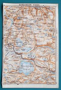 "NORWAY Hardangervidda Nat'l Park - 1912 Baedeker Map 4"" x 6"" (10 x 15 cm)"